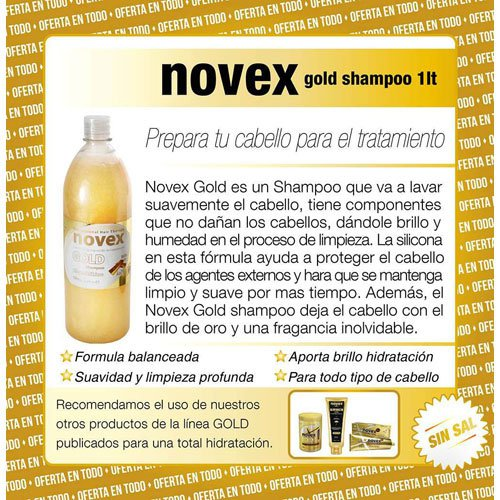Shampoo Novex Gold Light clean & shine up+ salt-free 1L