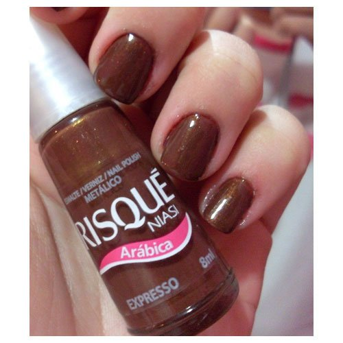Nail polish Risqué Expresso brown metallic 8ml